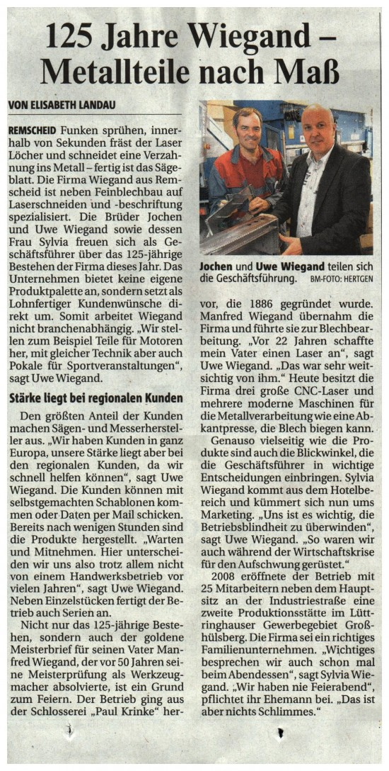 Bergische Morgenpost 06.07.2011