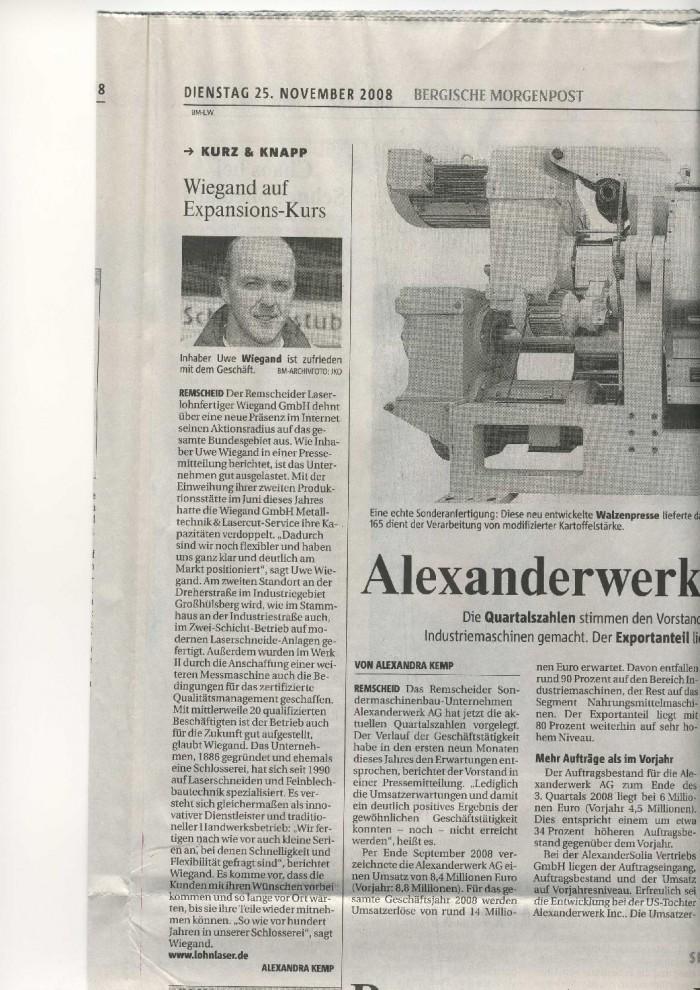 Bergische Morgenpost 25.11.2008